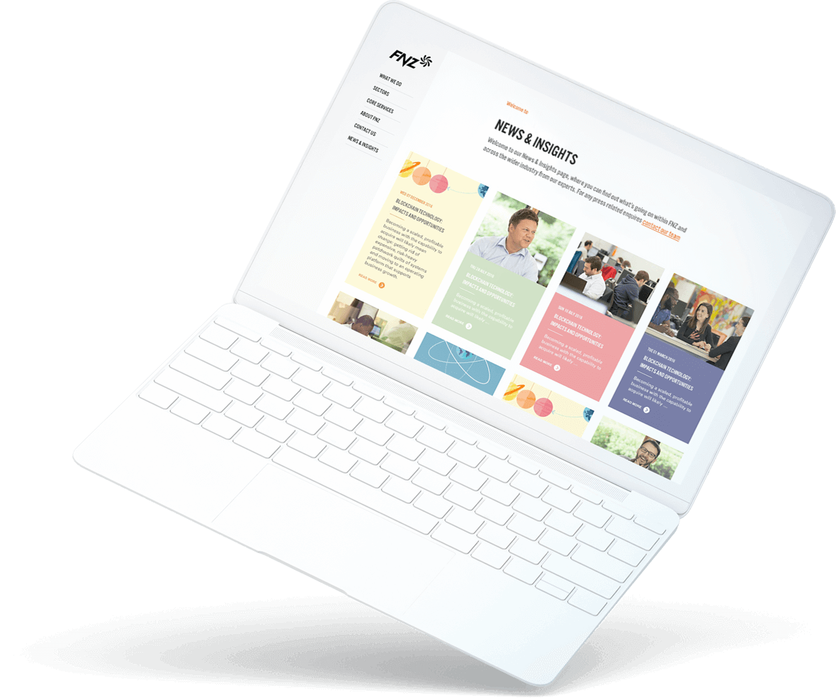floating laptop with FNZ website